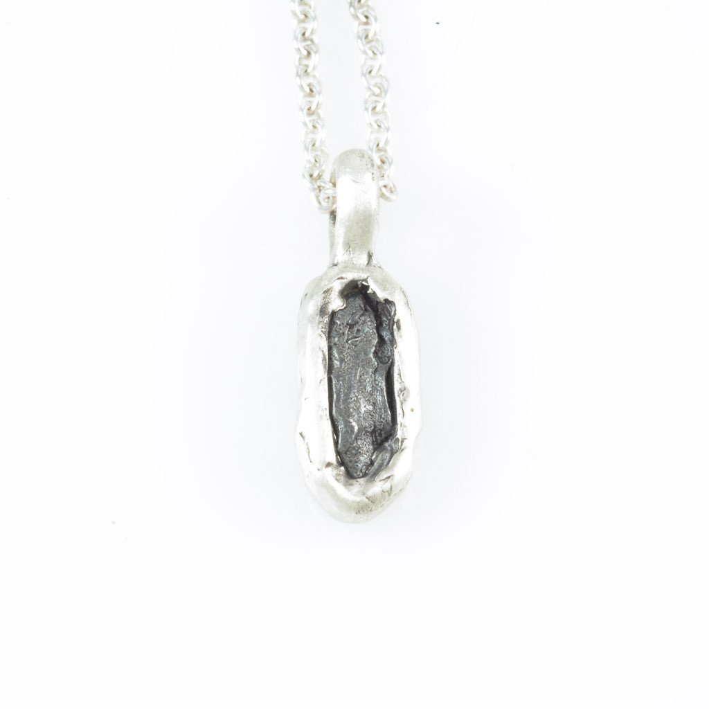 Meteorite Skinny Rectangle Pendant in Sterling Silver - Ready to Ship
