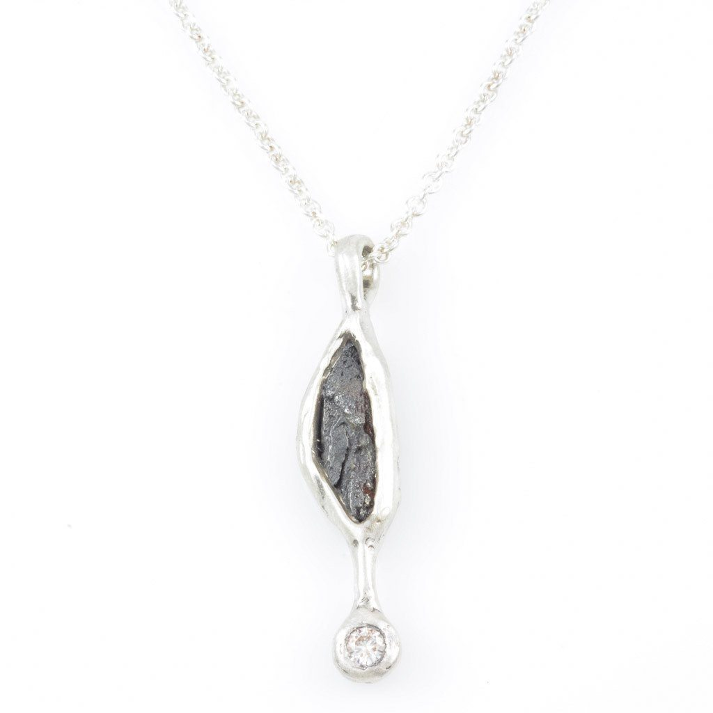 Meteorite and Moissanite Drop Pendant in Sterling Silver - Ready to Ship
