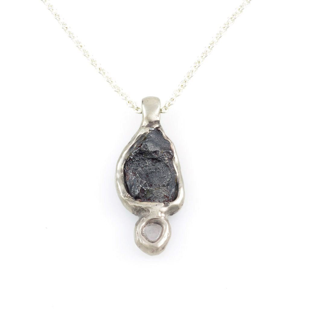 Meteorite and Rough Montana Sapphire in Palladium/Silver Alloy - Ready to Ship - Beth Cyr Handmade Jewelry