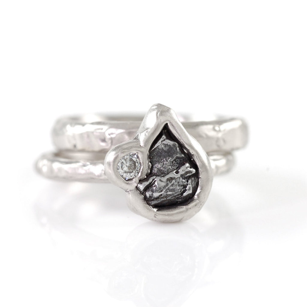 Meteorite Ring with Moissanite in Palladium/Silver - size 6 - Ready to Ship