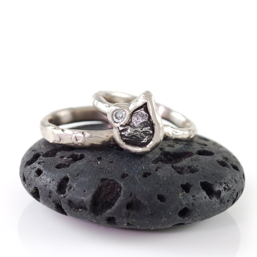 Meteorite Ring with Moissanite in Palladium/Silver - size 6 - Ready to Ship - Beth Cyr Handmade Jewelry