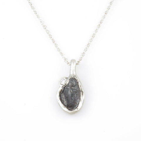 Meteorite and Perched Moissanite Pendant in Sterling Silver - Ready to Ship