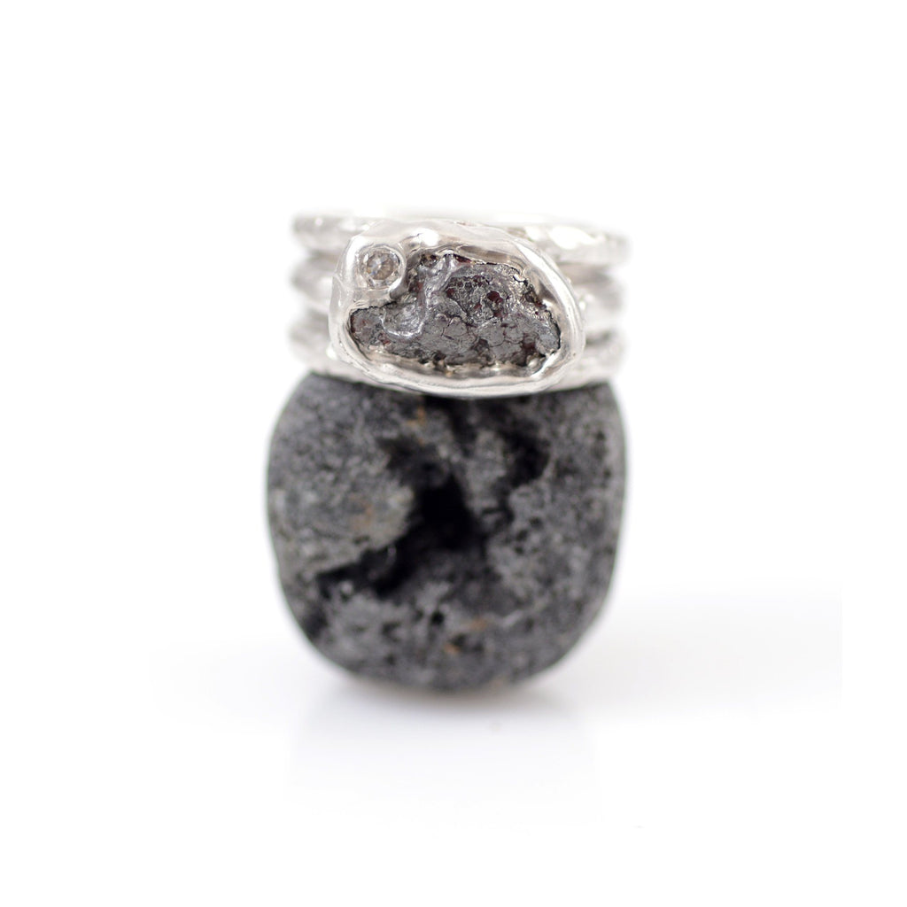 Meteorite and Moissanite Triple Ring in Palladium Sterling Silver - size 6.5 - Ready to Ship - Beth Cyr Handmade Jewelry