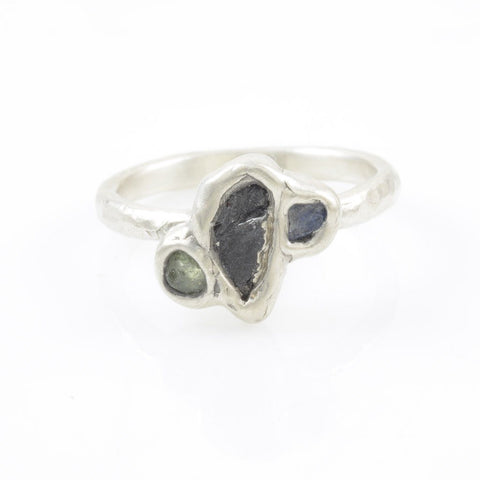 Meteorite Ring with Two Rough Sapphires in Palladium Sterling Silver - size 6.75 - Ready to Ship