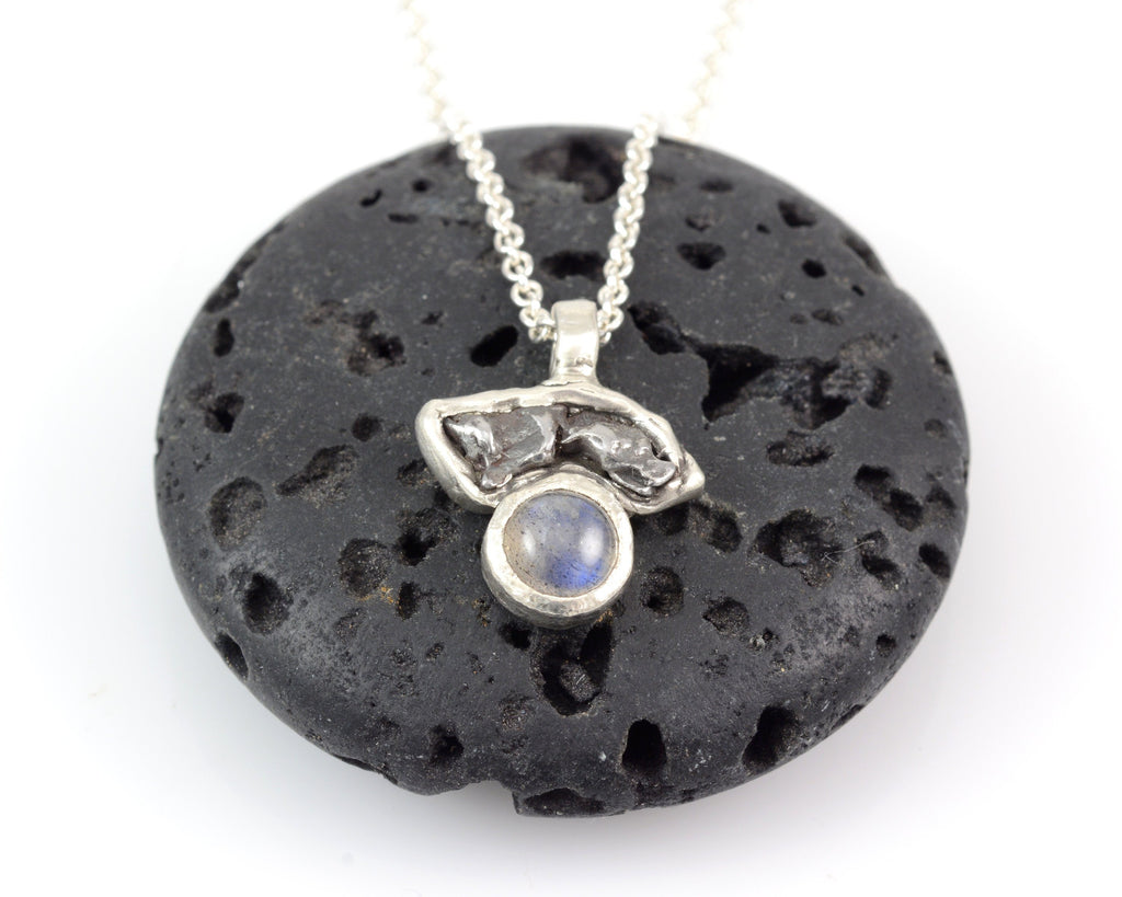 Meteorite Pendant with Labradorite in Sterling Silver - Ready to Ship - Beth Cyr Handmade Jewelry