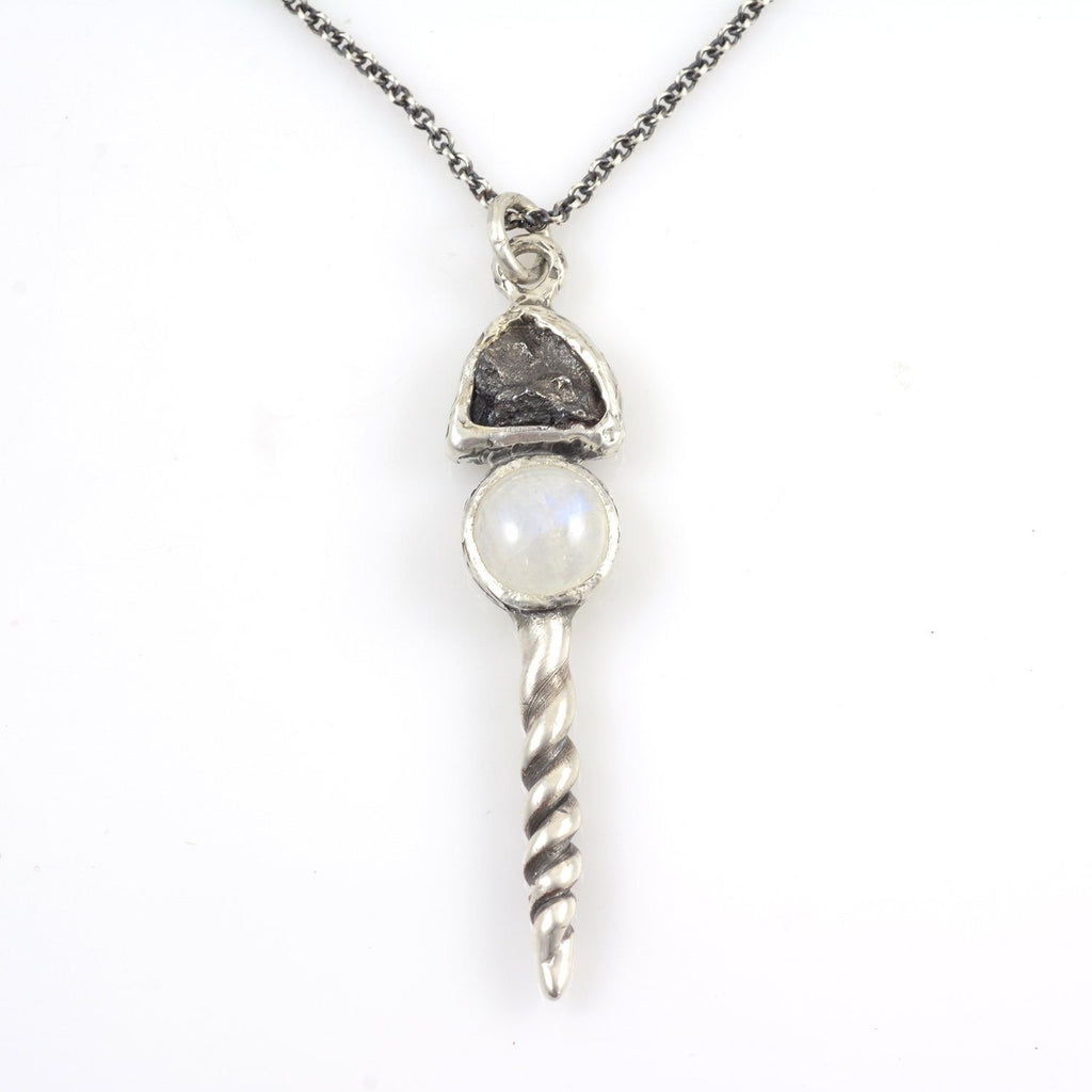 Meteorite Pendant with Rainbow Moonstone/White Labradorite and Spiral in Sterling Silver - Ready to Ship
