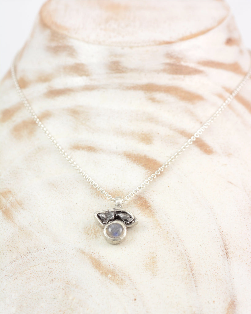 Meteorite Pendant with Labradorite in Sterling Silver - Ready to Ship