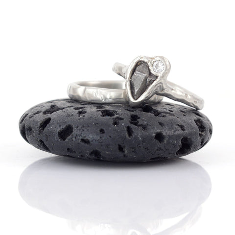 Meteorite and Moissanite Ring Set in Palladium Sterling Silver - size 6 1/4 - Ready to Ship - Beth Cyr Handmade Jewelry