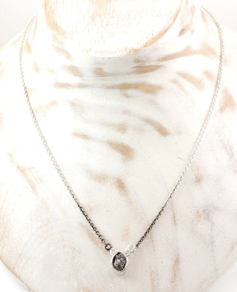 Asymmetrical Meteorite and Moissanite Necklace in Sterling Silver #16 - Ready to Ship - Beth Cyr Handmade Jewelry