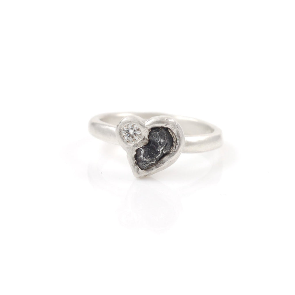 Meteorite Ring with Moissanite in Palladium Sterling Silver - size 5 - Ready to Ship - Beth Cyr Handmade Jewelry