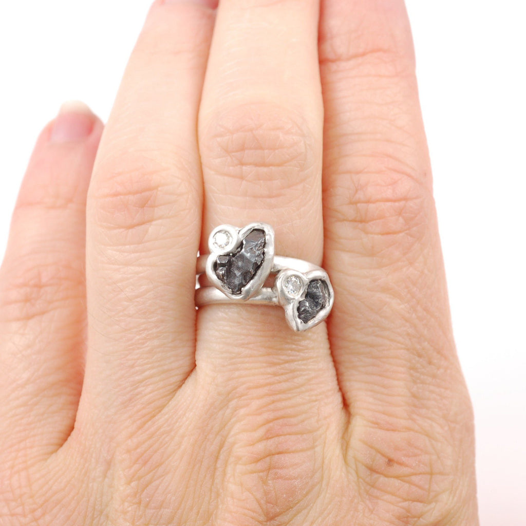 Meteorite Ring with Moissanite in Palladium Sterling Silver - size 5 - Ready to Ship