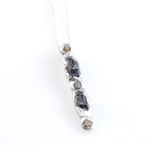 Supercluster Meteorite and Rough Diamond Pendant in Sterling Silver #8 - Ready to Ship - Beth Cyr Handmade Jewelry