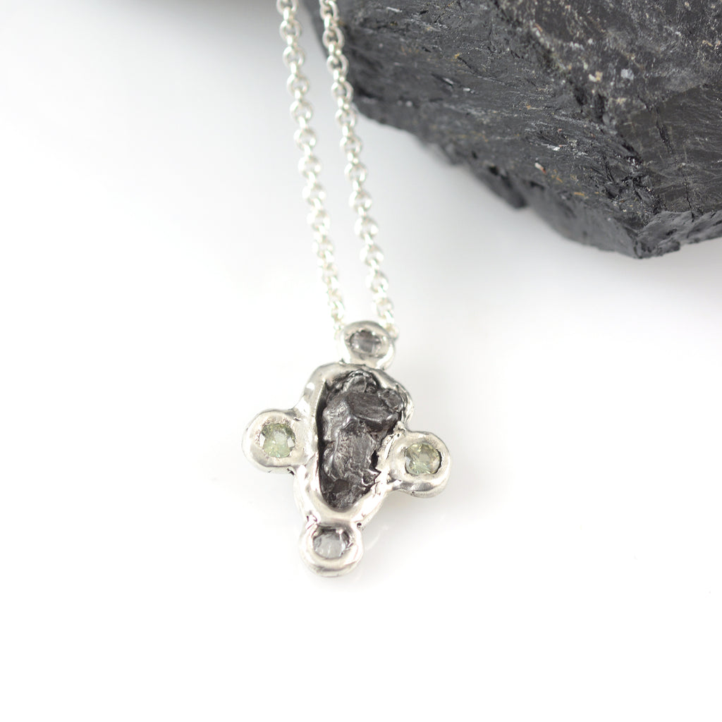 Meteorite and Sapphire Pendant in Sterling Silver - Ready to Ship