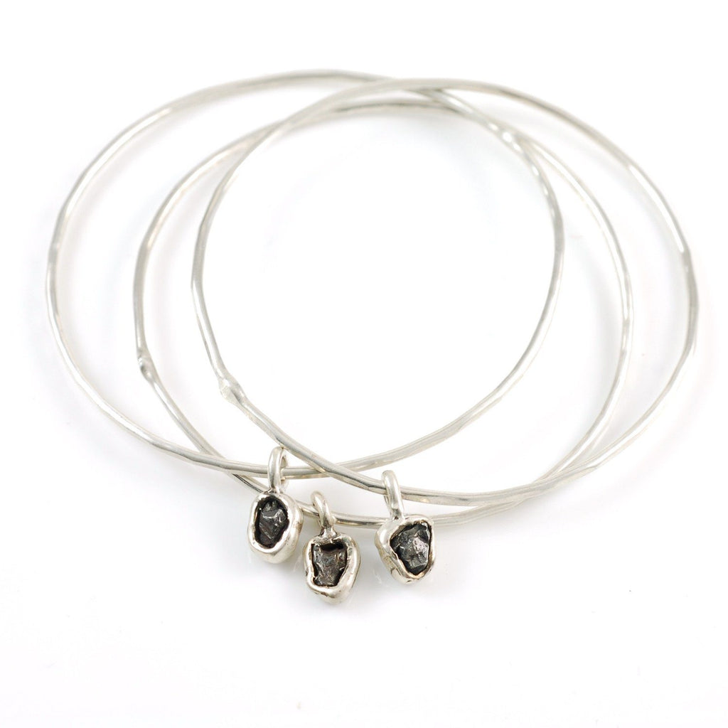 Meteorite Bangles - Set of 3 Size Medium - Ready to Ship - Beth Cyr Handmade Jewelry