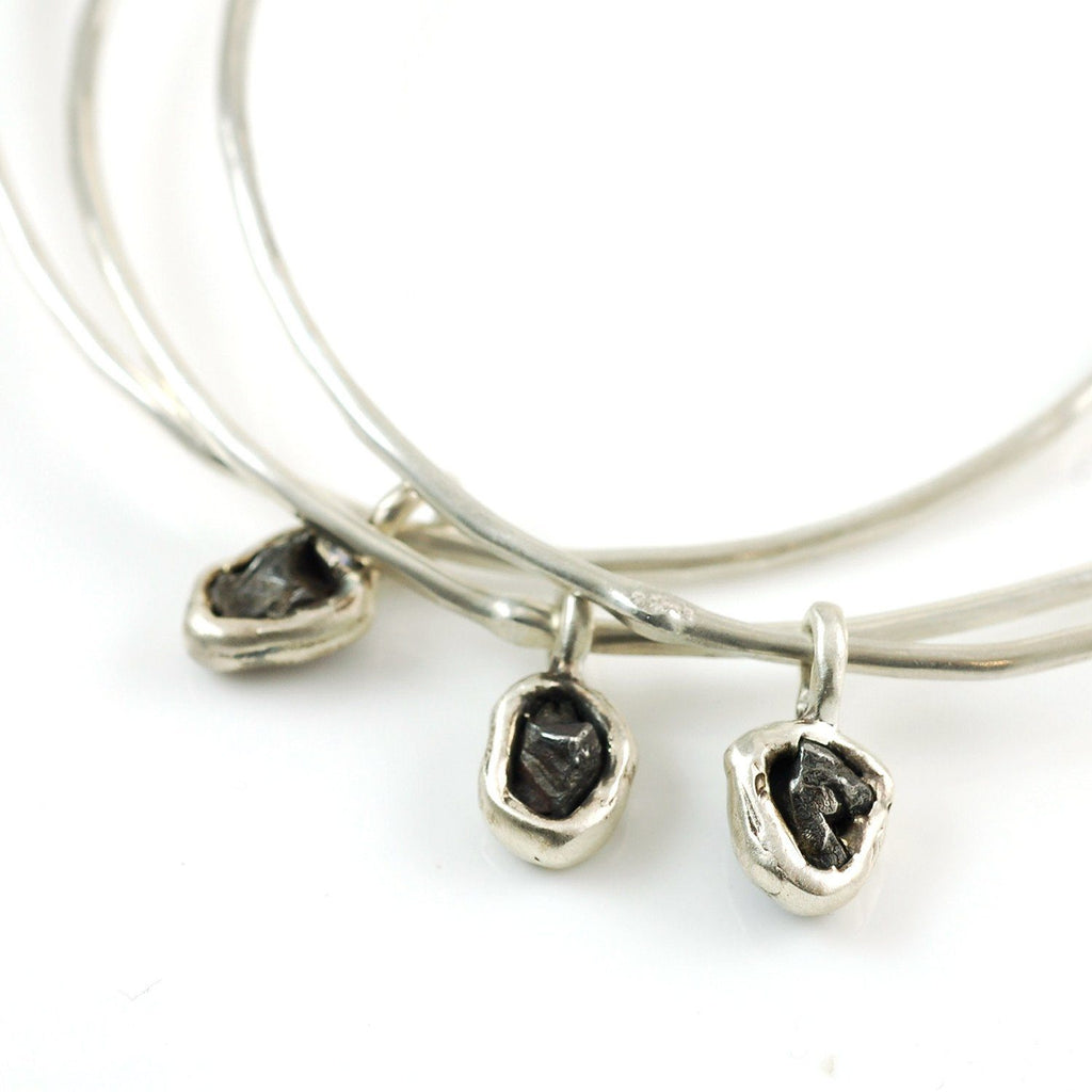 Asteroid Belt Meteorite Bangles - Set of 3 Size Medium - Ready to Ship - Beth Cyr Handmade Jewelry