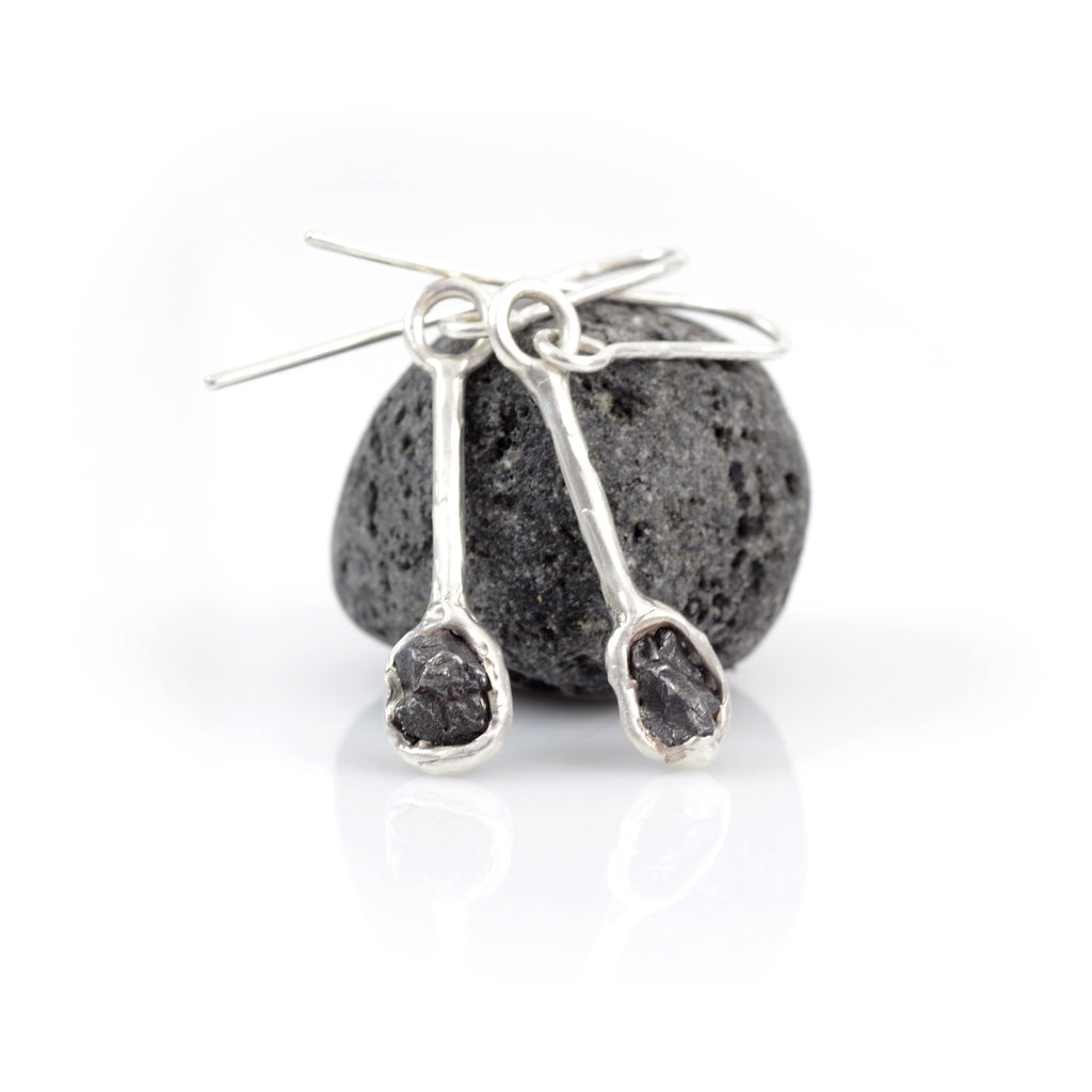 Meteorite Earrings in Sterling Silver - Size Medium - Ready to Ship - Beth Cyr Handmade Jewelry