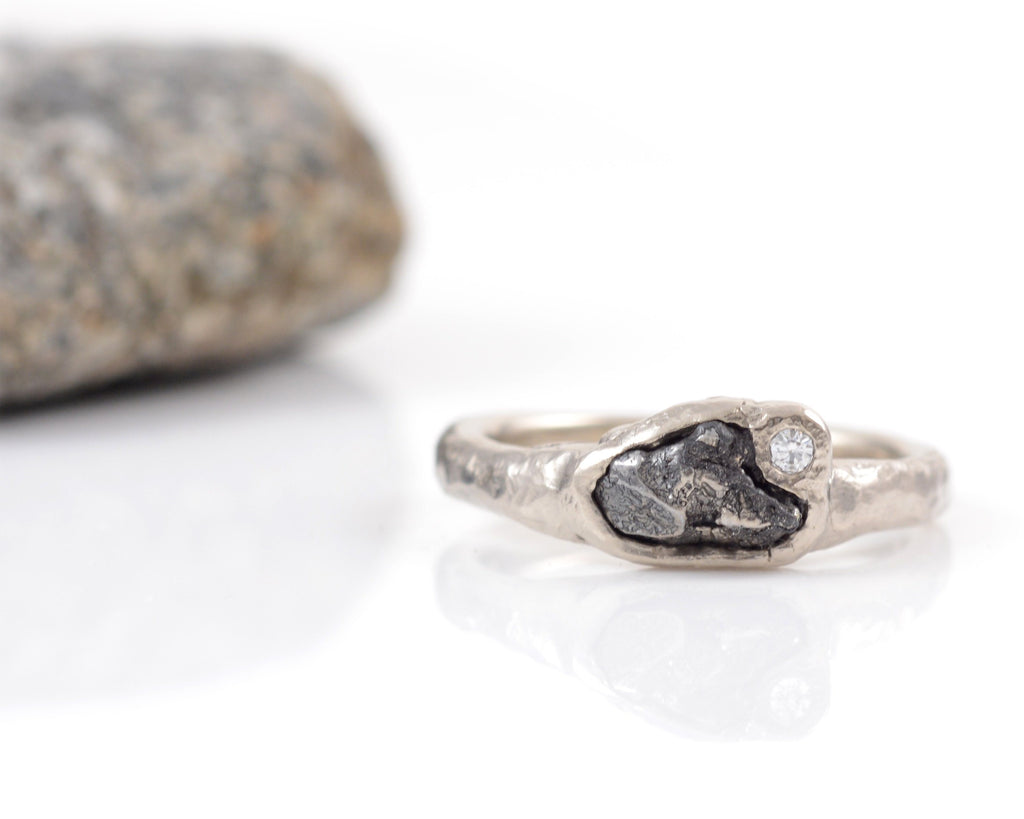 Custom Meteorite Engagement Ring with Moissanite in 14k Palladium White Gold - Final Payment - Beth Cyr Handmade Jewelry