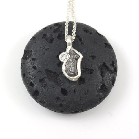 Meteorite and Moissanite Pendant in Sterling Silver - Ready to Ship