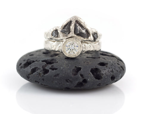 Meteorite Mosaic Ring with 5mm Moissanite in Palladium Sterling Silver - size 7.5 - Ready to Ship - Beth Cyr Handmade Jewelry
