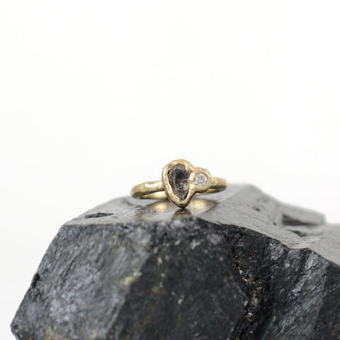 Meteorite Ring with Moissanite in 14k yellow gold - size 4 - Ready to Ship