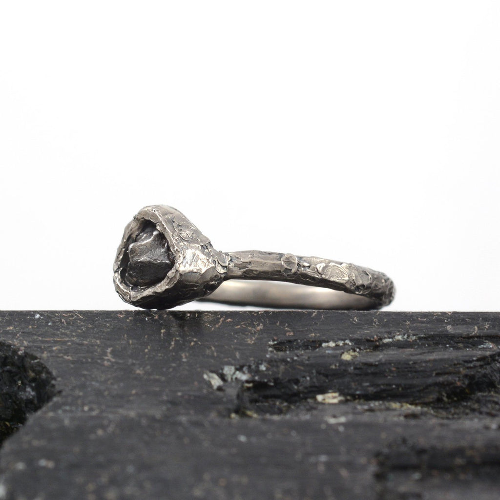 Meteorite Ring with Mountain Texture Band in Palladium/Silver - size 6.5 - Ready to Ship - Beth Cyr Handmade Jewelry