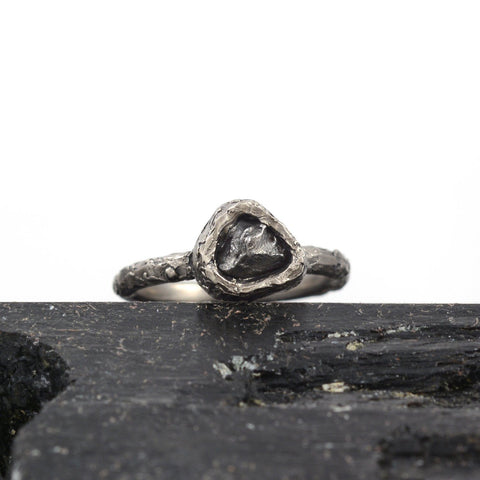 Meteorite Ring with Mountain Texture Band in Palladium/Silver - size 6.5 - Ready to Ship