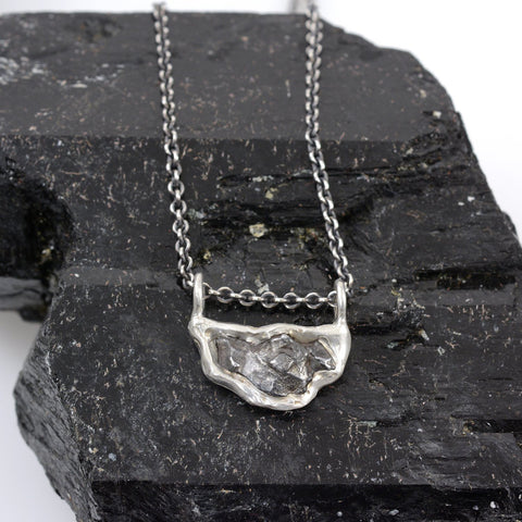 Meteorite Necklace in Sterling Silver - Ready to Ship - Beth Cyr Handmade Jewelry