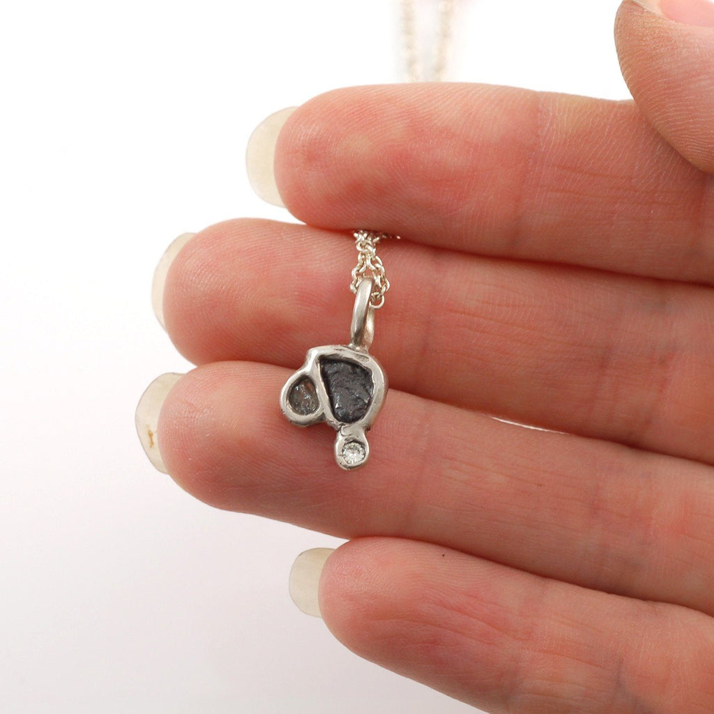 Supercluster Meteorite, Moissanite and Sapphire Pendant in Sterling Silver #18 - Ready to Ship - Beth Cyr Handmade Jewelry