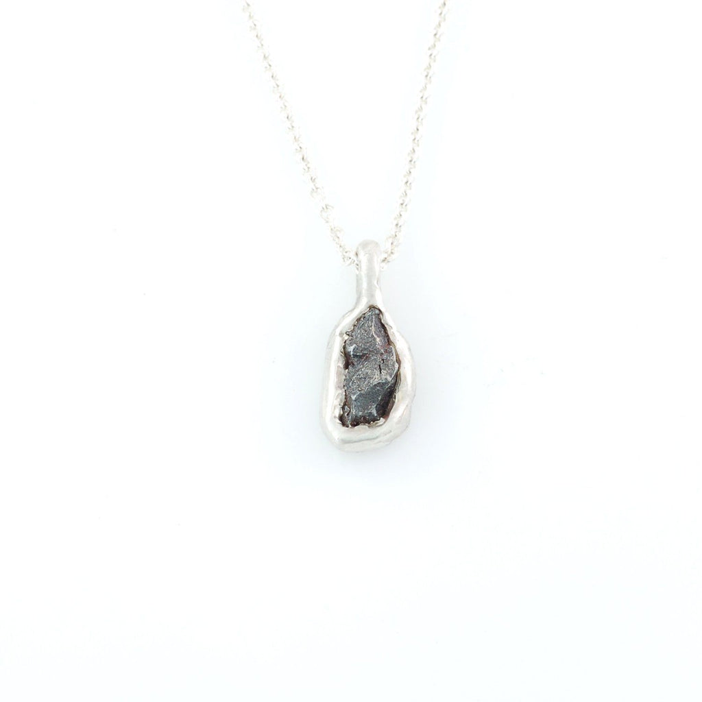 Meteorite Pendant in Sterling Silver #25 - Ready to Ship
