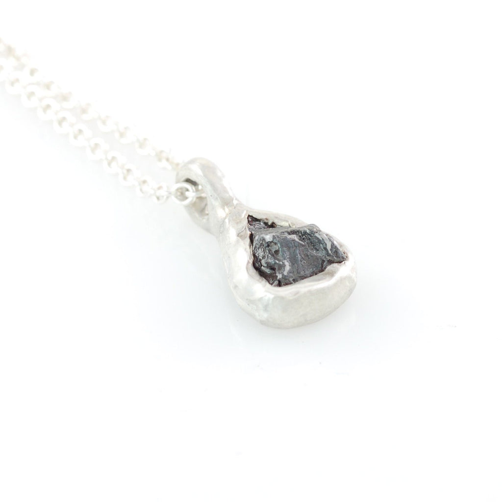 Meteorite Pendant in Sterling Silver #26 - Ready to Ship