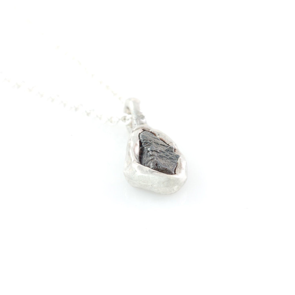 Meteorite Pendant in Sterling Silver #28 - Ready to Ship - Beth Cyr Handmade Jewelry