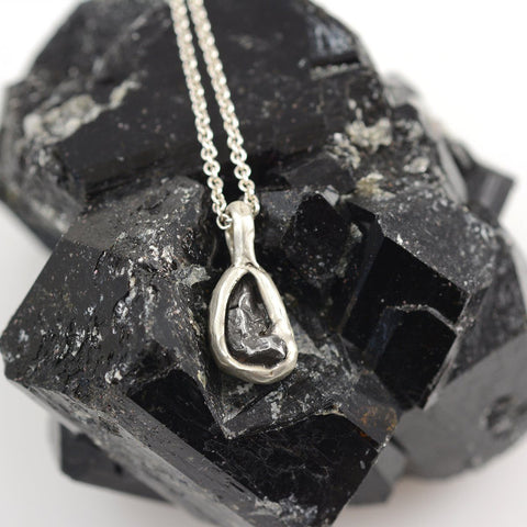 Meteorite Pendant in Sterling Silver - Ready to Ship - Beth Cyr Handmade Jewelry