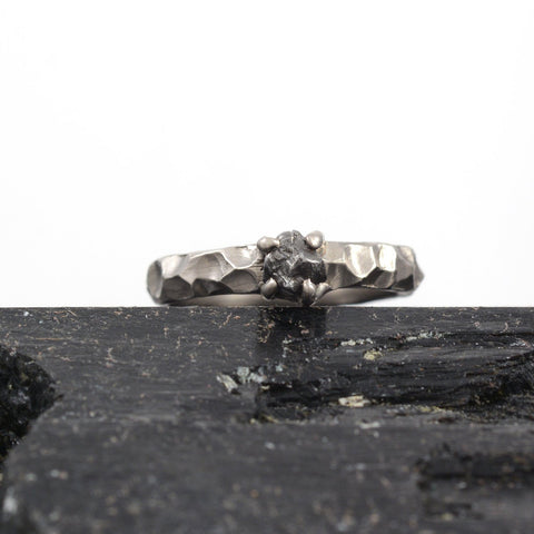 Meteorite Ring with Carved Band and Prong Setting in Palladium/Silver - size 6.5 - Ready to Ship - Beth Cyr Handmade Jewelry
