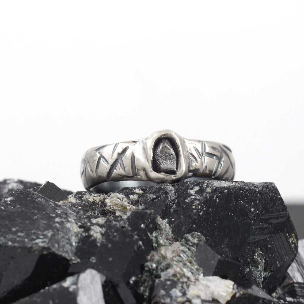 Marked Wide Band and Single Meteorite Ring in Palladium Sterling Silver - size 8 1/2 - Ready to Ship - Beth Cyr Handmade Jewelry