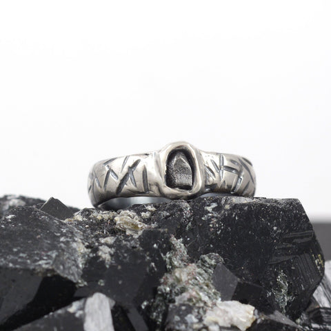 Marked Wide Band and Single Meteorite Ring in Palladium Sterling Silver - size 8 1/2 - Ready to Ship
