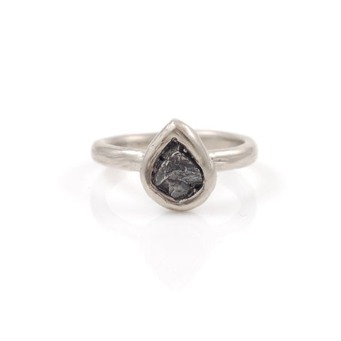 Single Meteorite Ring in Palladium/Silver - size 5 - Ready to Ship - Beth Cyr Handmade Jewelry