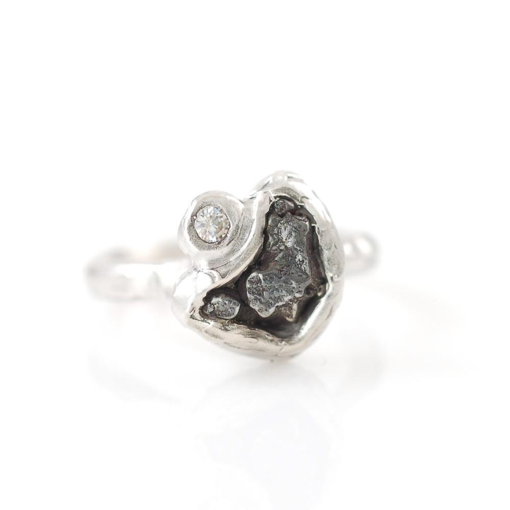 Meteorite Ring with Moissanite in Palladium Sterling Silver - size 4 - Ready to Ship - Beth Cyr Handmade Jewelry