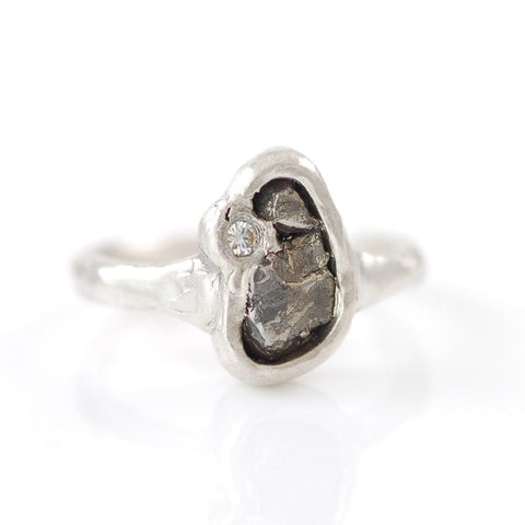 Meteorite Ring with Moissanite in Palladium Sterling Silver - size 6 1/2 - Ready to Ship - Beth Cyr Handmade Jewelry