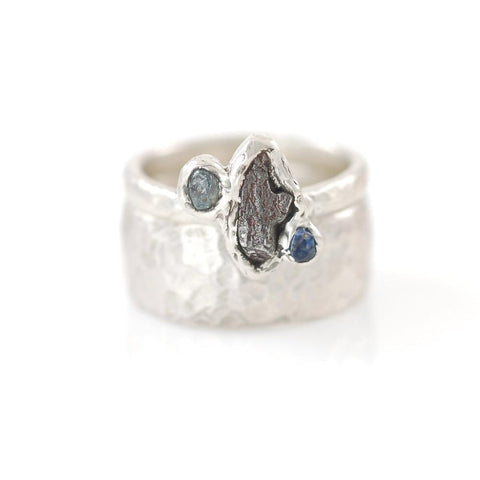 Custom Meteorite Ring with Two Rough Montana Sapphires in Palladium Sterling Silver - size 6 - Made to Order - Beth Cyr Handmade Jewelry