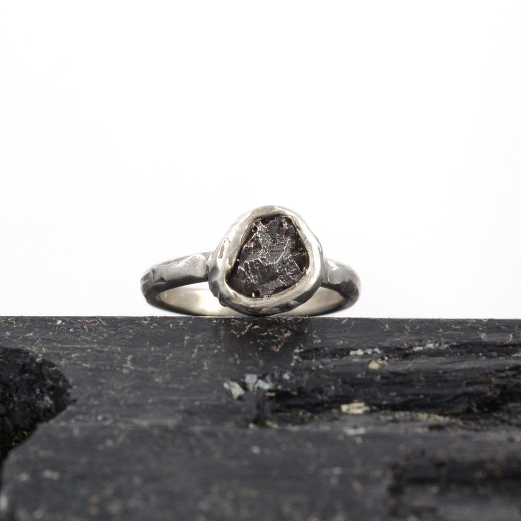 Single Meteorite Ring in Palladium Sterling Silver - size 3.75 - Ready to Ship - Beth Cyr Handmade Jewelry