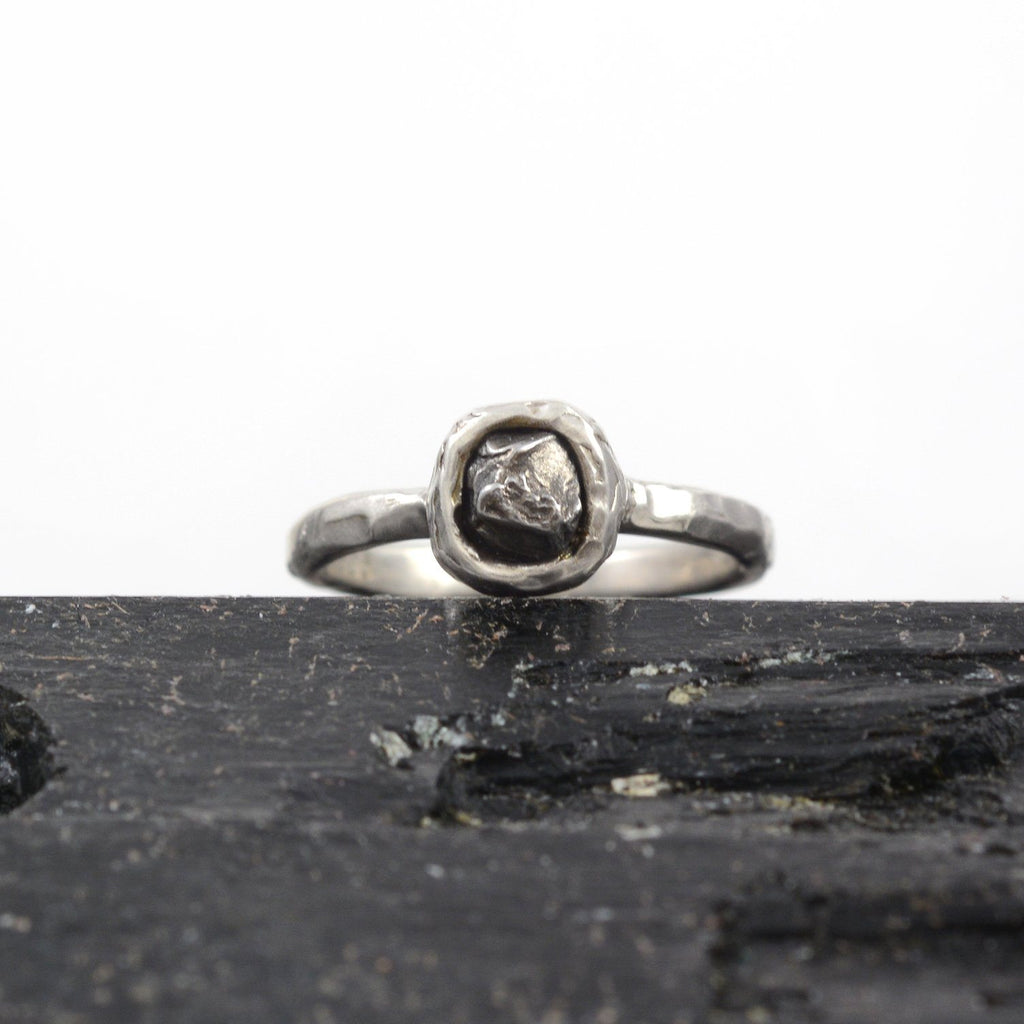 Single Meteorite Ring in Palladium Sterling Silver - size 5 1/2 - Ready to Ship