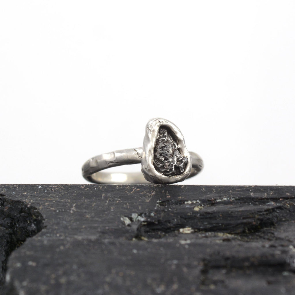 Single Meteorite Ring in Palladium Sterling Silver - size 6 - Ready to Ship - Beth Cyr Handmade Jewelry