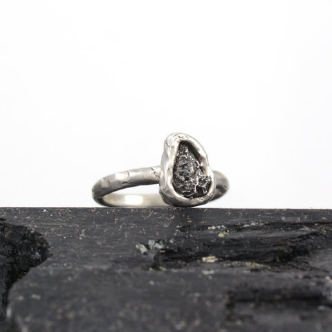 Single Meteorite Ring in Palladium Sterling Silver - size 6 - Ready to Ship