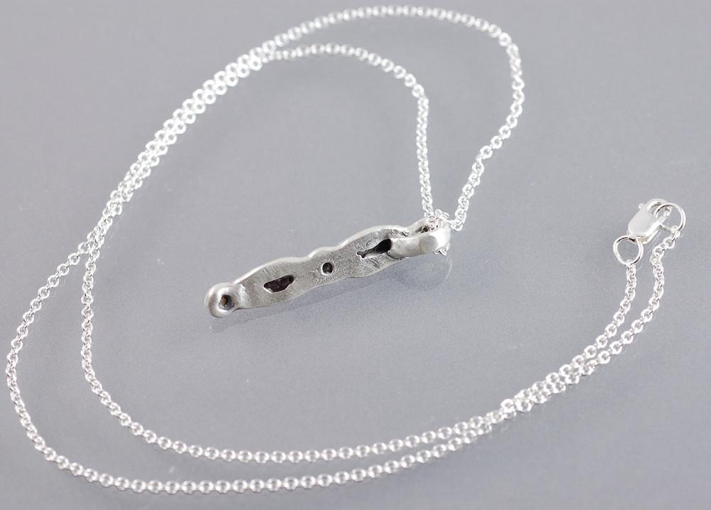 Meteorite and Rough Diamond Pendant in Sterling Silver #8 - Ready to Ship - Beth Cyr Handmade Jewelry