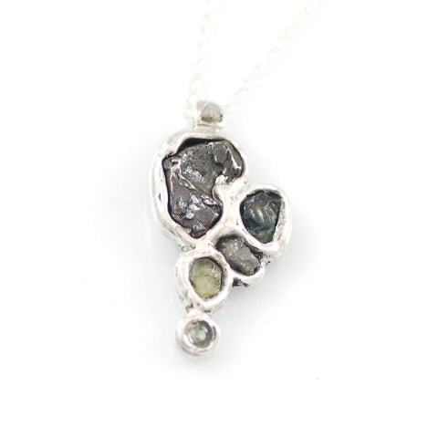 Supercluster Meteorite, Rough Diamond, and Sapphire Pendant in Sterling Silver #15 - Ready to Ship - Beth Cyr Handmade Jewelry