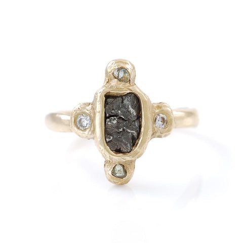 Meteorite Ring with Rough Montana Sapphires and Moissanite in 14k Yellow Gold - size 6 7/8 - Ready to Ship - Beth Cyr Handmade Jewelry