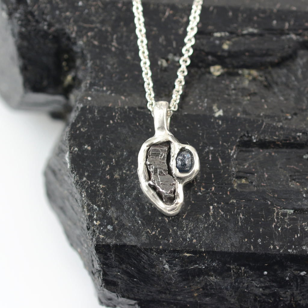 Meteorite and Rough Montana Sapphire Pendant in Sterling Silver - Ready to Ship
