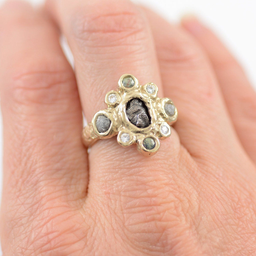 Meteorite Ring with Rough Diamonds, Sapphires and Moissanite in 14k Yellow Gold - size 5.5 - Ready to Ship - Beth Cyr Handmade Jewelry