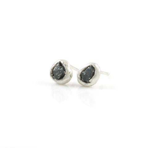 Meteorite Post Earrings in Sterling Silver - Ready to ship - Beth Cyr Handmade Jewelry