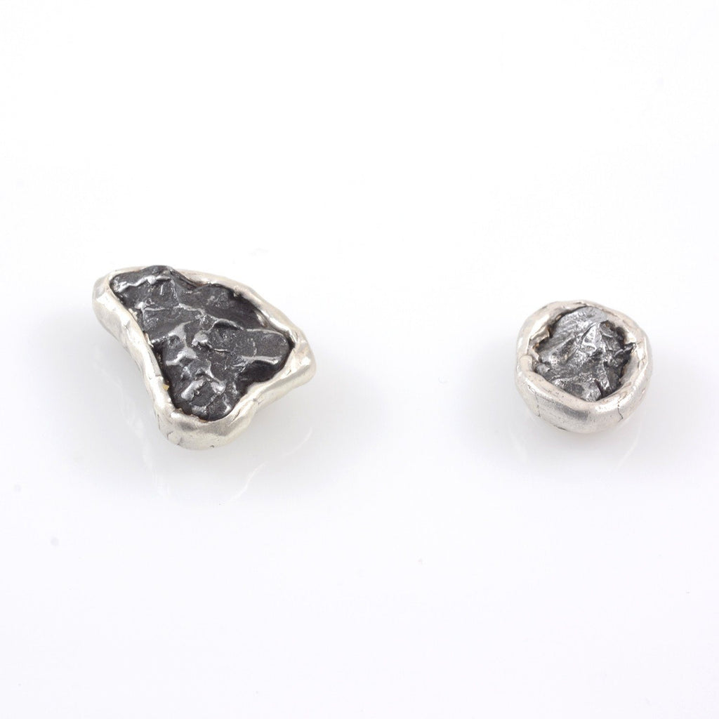 Reserved Custom Order - Meteorite Tie Magnets in Sterling Silver - Ready to Ship - Beth Cyr Handmade Jewelry